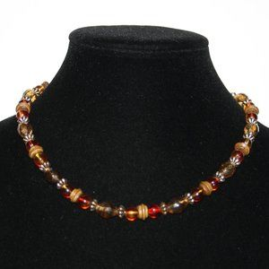 Beautiful wooden and amber necklace adjustable